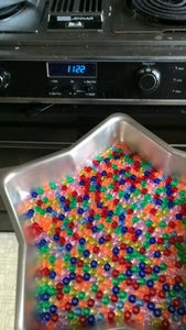 Pan of Beads --> Oven