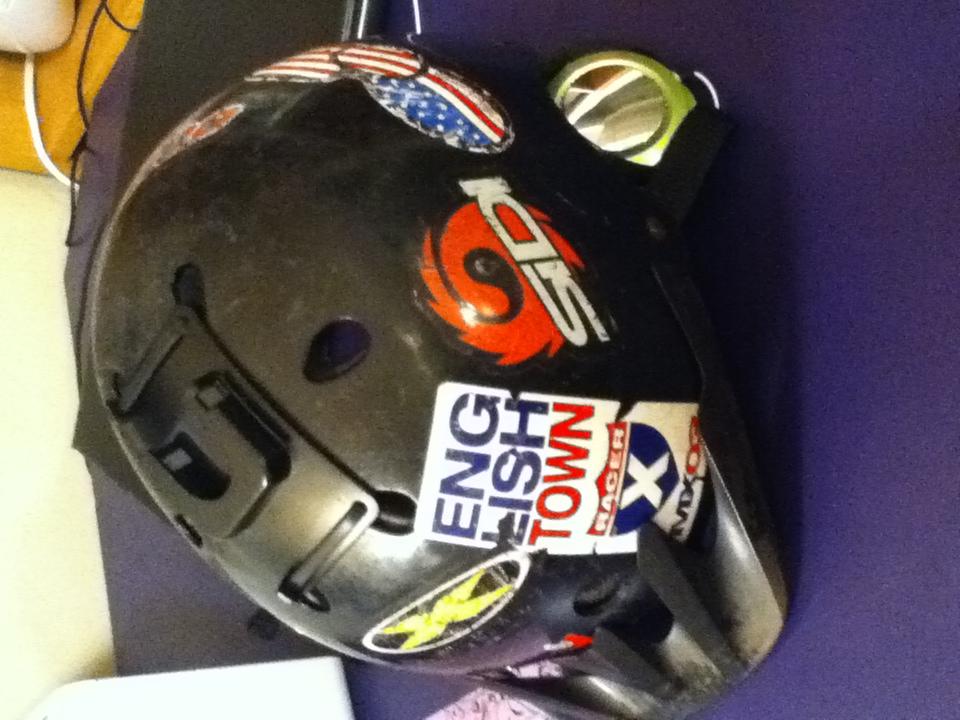 Picture of Head Phones in Bicycle Helmet