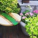 Circular Wood Resin End Table