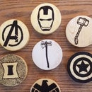 Woodburned Marvel Coasters