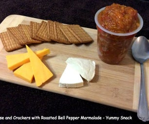 Cheese and Crackers With Roasted Bell Pepper Marmalade