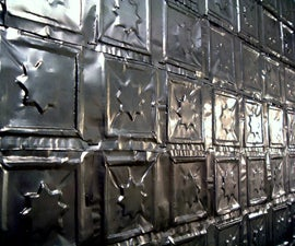 Press Aluminum Cans into Ceiling and Wall Tiles