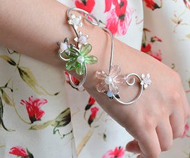 Aluminum Wire Jewelry Making – How to Make Wire Wrapped Glass Bead Flower Cuff Bracelet