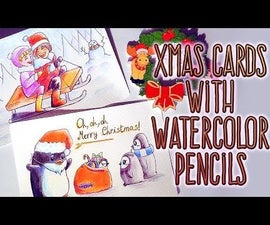 DIY XMAS CARDS With WATERCOLOR PENCILS: Kids on Sled + Santa Penguin