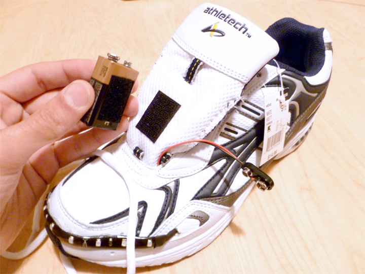 Picture of Place 9 Volt Battery on Sneaker