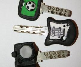 Key decoration with polymer clay