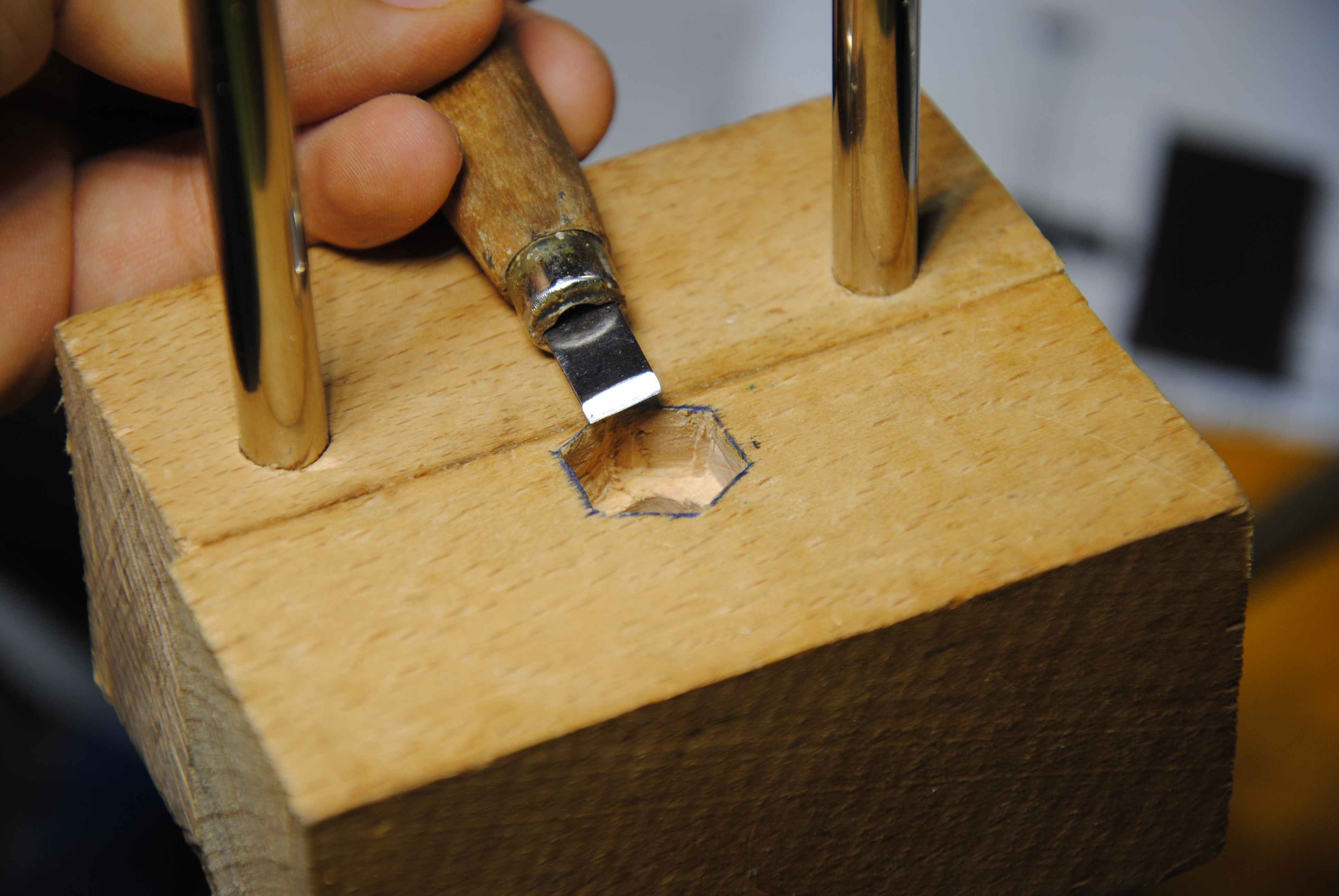 Picture of Chisel Holes for the Hex-nut