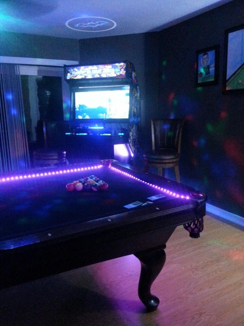 Pool table lights with pictures picture of install led strips greentooth Gallery