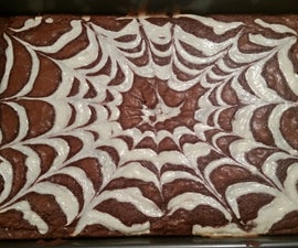 Spider Web cream cheese brownies