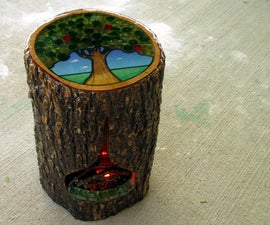 Tree Stump Side Table With Fireplace