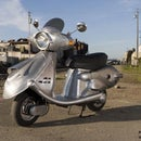 """Quicksilver"" Retro-Future Scooter from appliances and scrap metal"