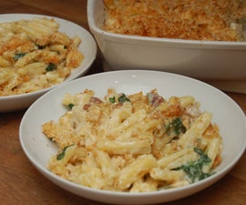 awesome macaroni cheese with pancetta & spinach