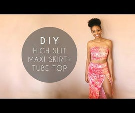DIY High Slit Maxi Skirt + Tube Top (No Sewing Required)
