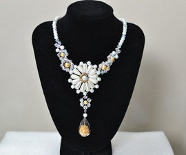 How to Make a Beaded Flower Statement Necklace Pattern With Pearl Beads