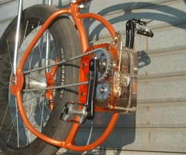 transparent gearbox on a homemade bicycle