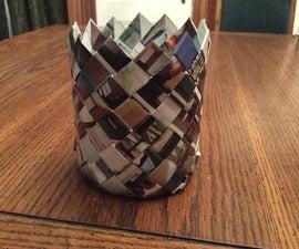 Diagonal Weave Catalog Basket - Cylinder Shaped