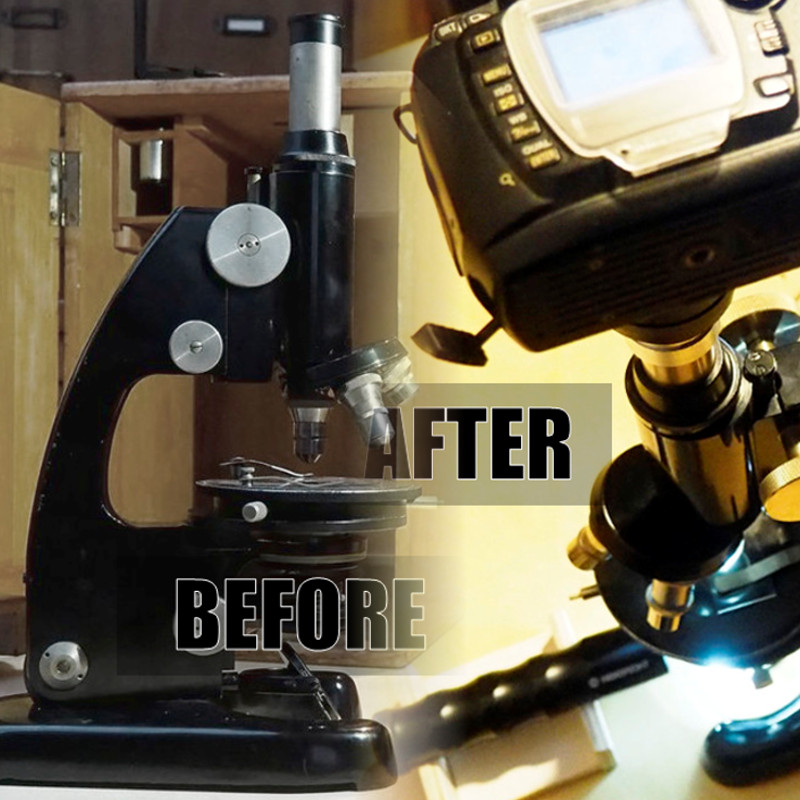 Picture of Revive an Old Microscope: Proper Cleaning, New Light Source (with Plywood) and Camera Adapter