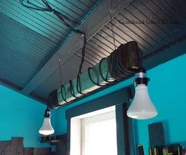 Rustic Custom Workshop Lighting With 2x4s