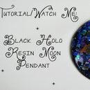 Black Holo Moon Pendant