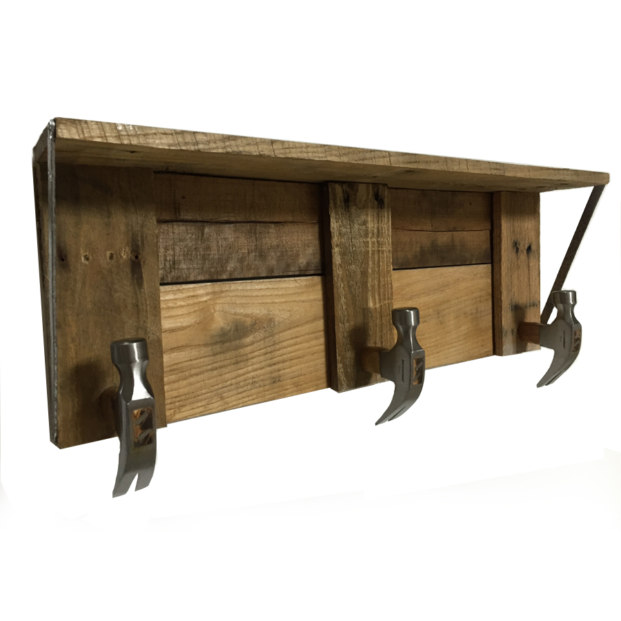 Picture of Rustic Shelf With Hammer Head Hooks