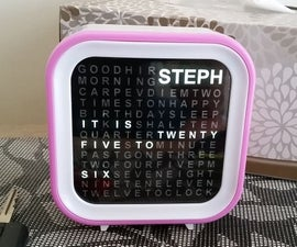 Personalised Word Clock with Animated Time Transitions