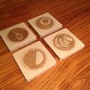 Fun wood coasters using laser cutter