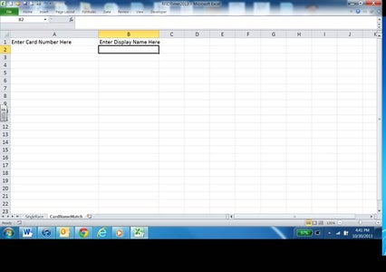 Excel Set Up