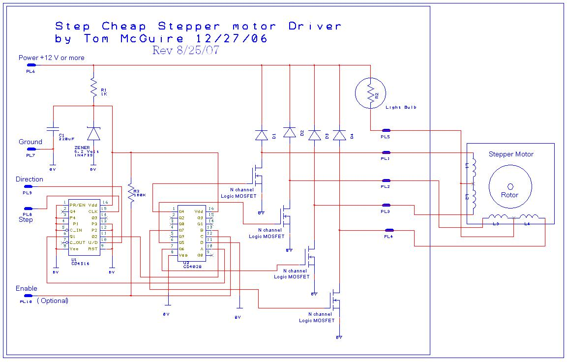 easy to build cnc mill stepper motor and driver circuits 6 steps rh instructables com stepping motor controller schematic stepper motor controller circuits