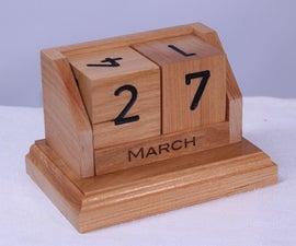 Perpetual Desk Calendar in Cherry