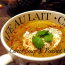 Curried carrot & Corainder soup with a Poached Egg