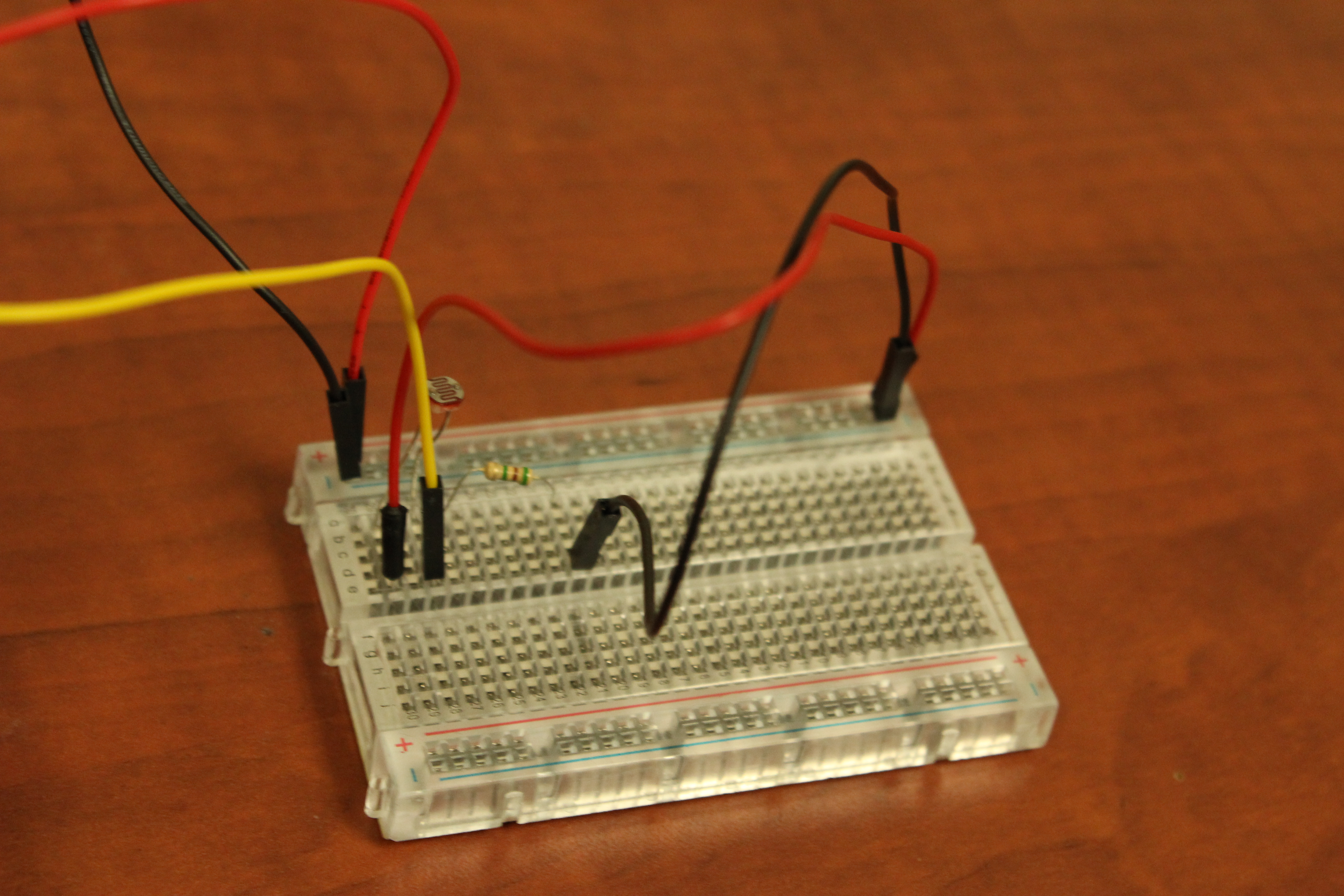 Picture of Connecting the Light Sensor to the Breadboard