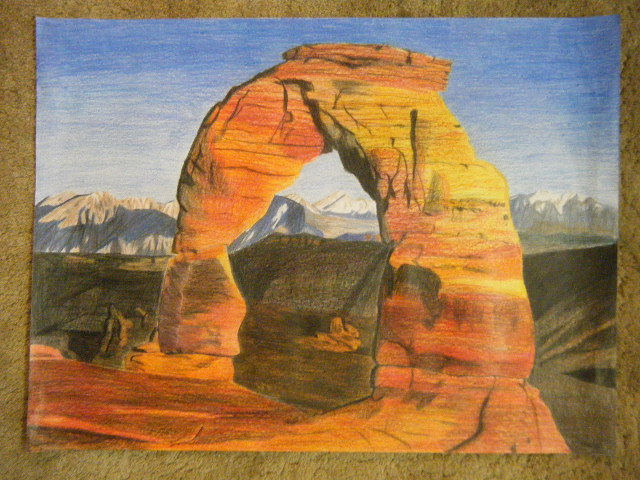 Picture of Arches National Park Colored Pencil Drawing