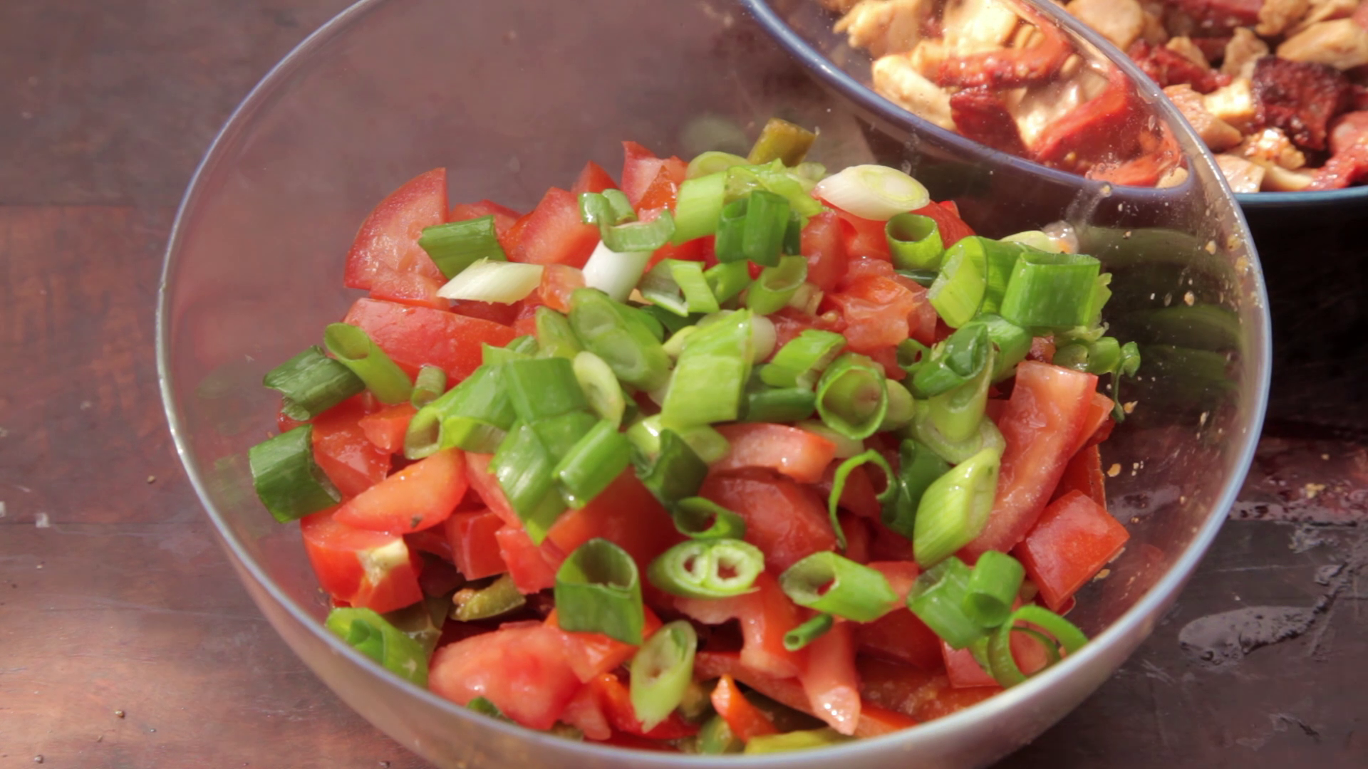 Picture of The Onions and Capsicums Have Cooled, Add the Diced Tomato to the Bowl Along With the Spring Onion.