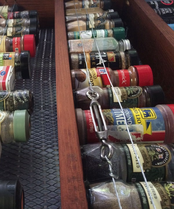 Reclaimed Wood Spice Rack With Wire Fence
