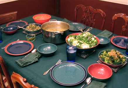 Chicken Chili Verde, Spinach Salad, Guacamole, Sesame Broccoli, and Sauted Zucchini - Green Day Dinner