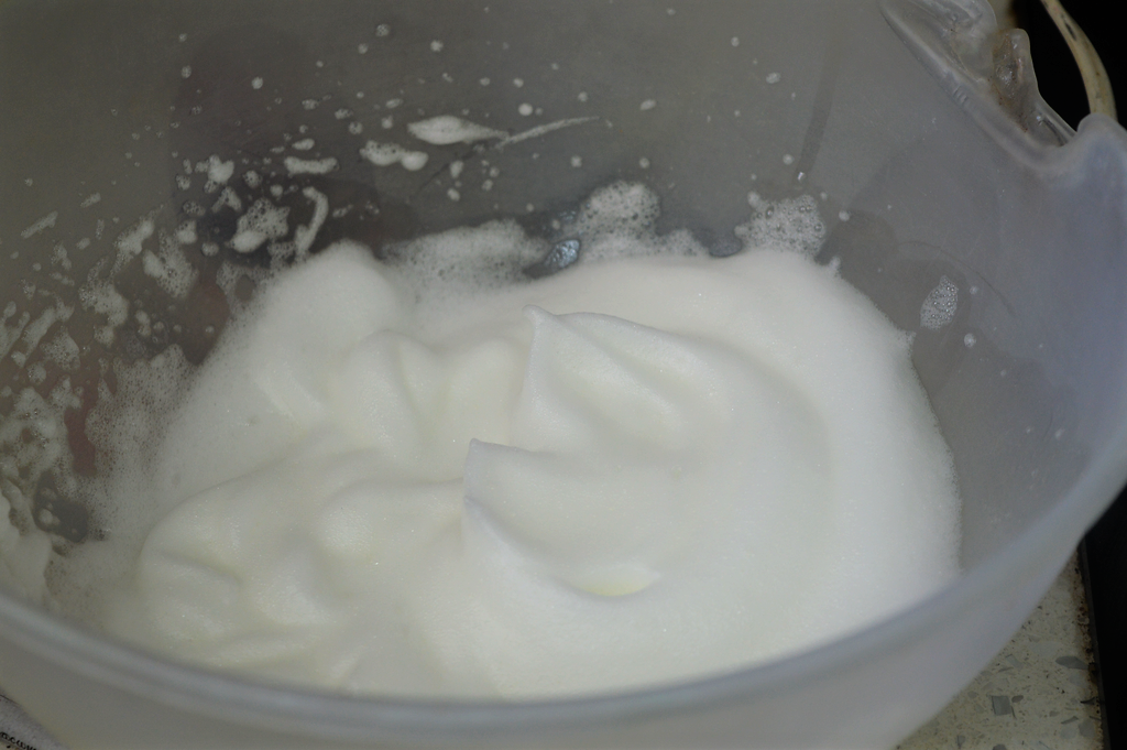 Picture of Now, to Prepare the Filling, Beat the Egg White Until It Form Frothy.