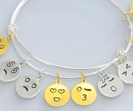 Metal Stamped Emoji Charms