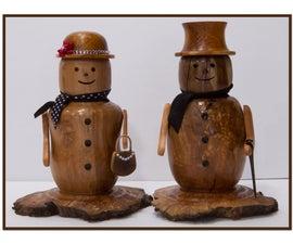 Make a decorative wooden snowman
