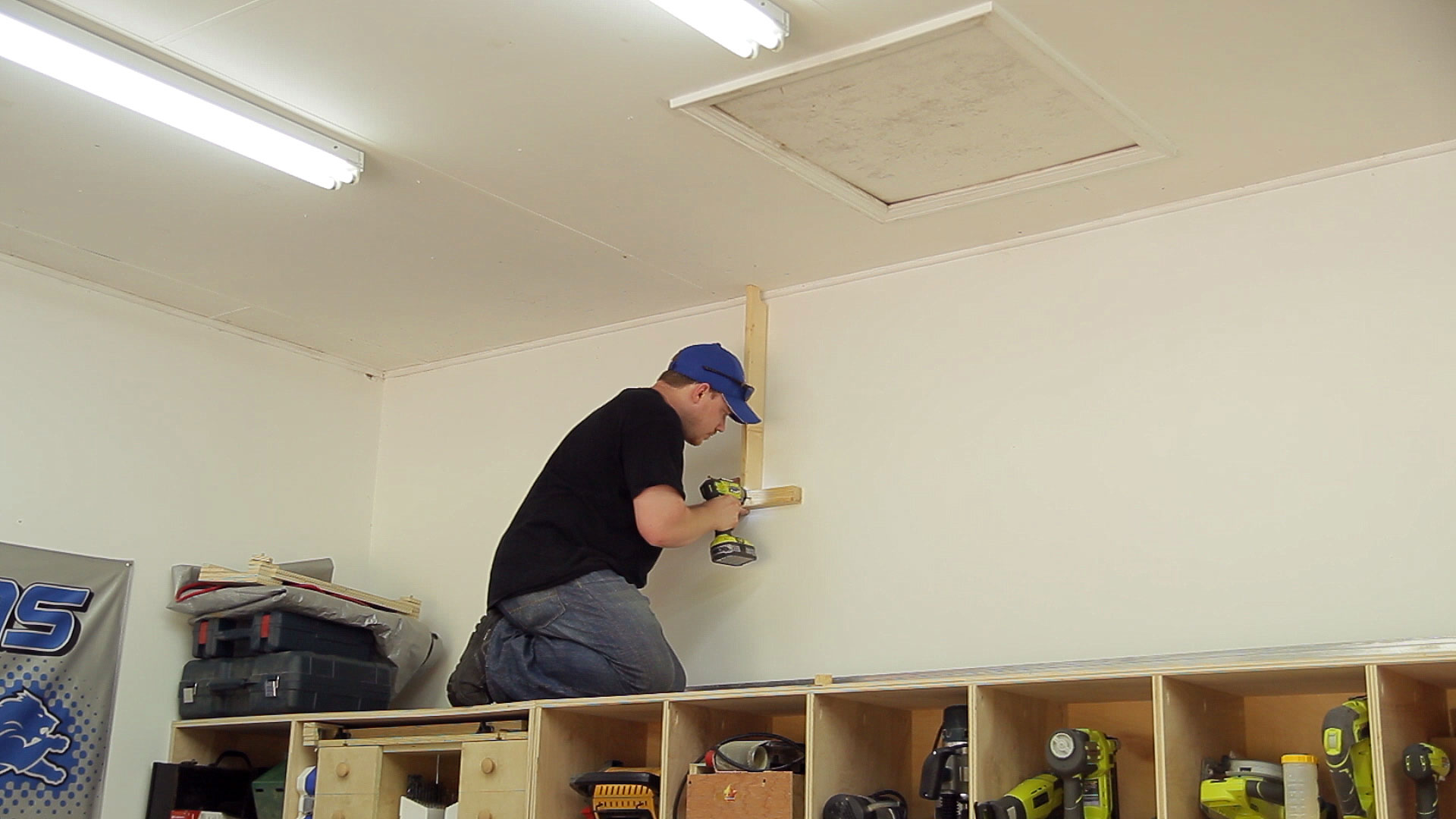 Wasted space high garage storage shelves 8 steps with pictures picture of install the wall and ceiling 2x2 boards solutioingenieria Image collections