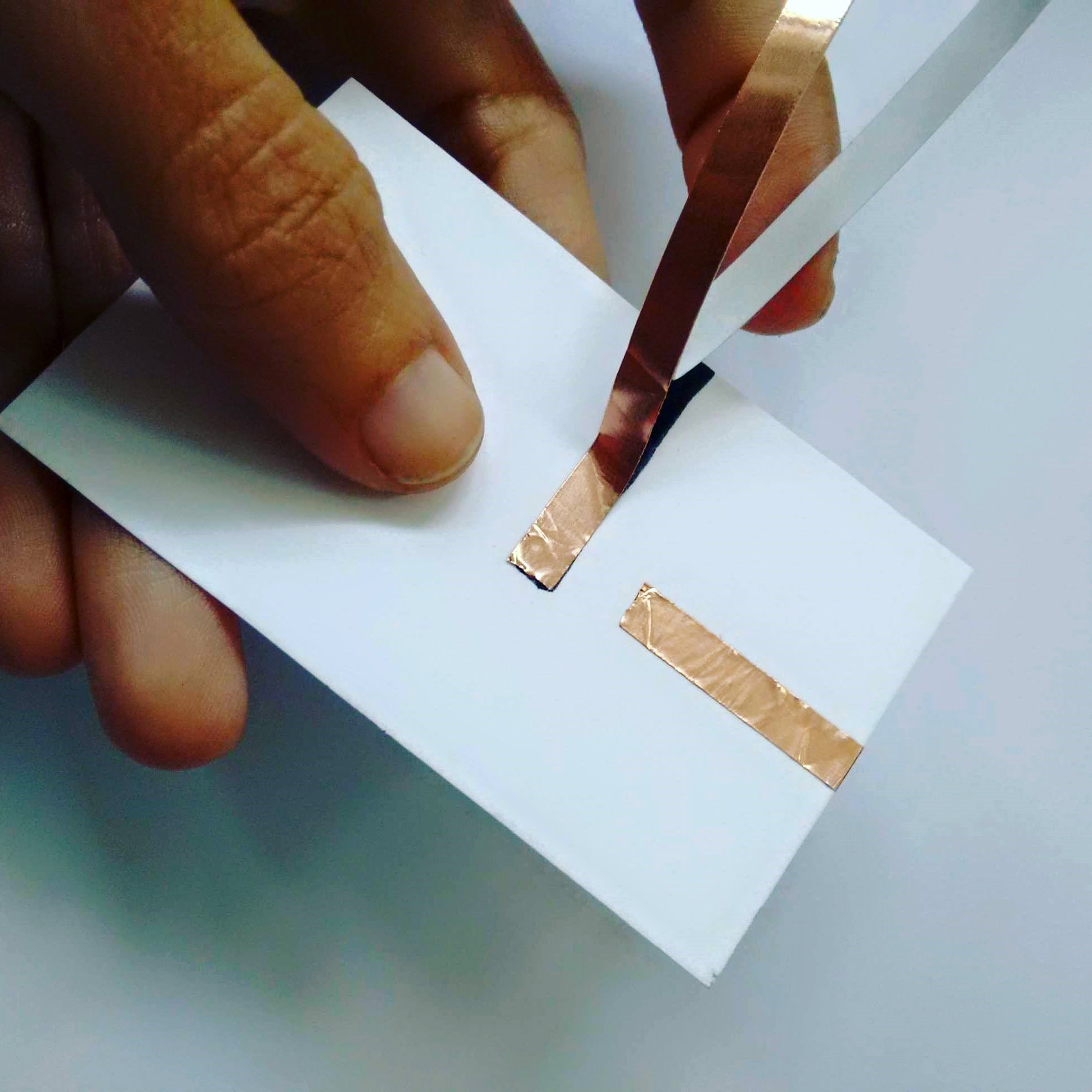 Picture of Cut the Copper Tape and Start With the Second Section of the Circuit