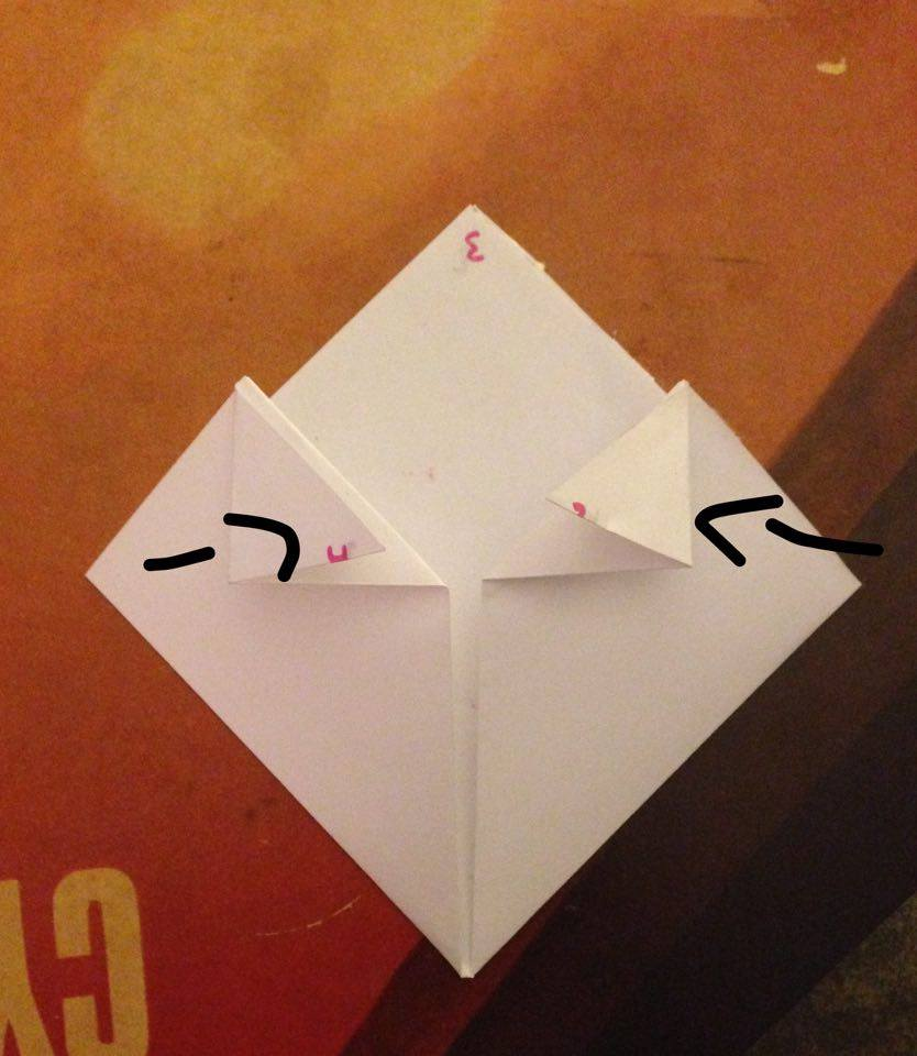 Picture of Fold the Pointed Edges of Your Paper Inward So That They Meet in the Center.  These Will Be Your Frogs Eyes!