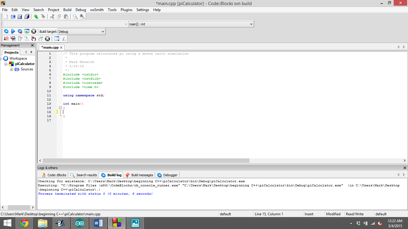 Picture of Starting the Code