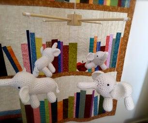 Crocheted Elephant Mobile