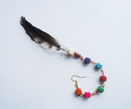 Hippie Inspired Feather and Beaded Ear Hook