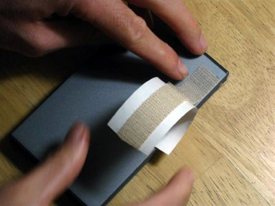 Cutting and Attaching Velcro to the Hard Drive