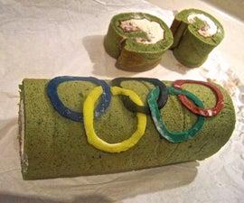 Olympic Cake: Green Tea Roll with Black Bean Cream