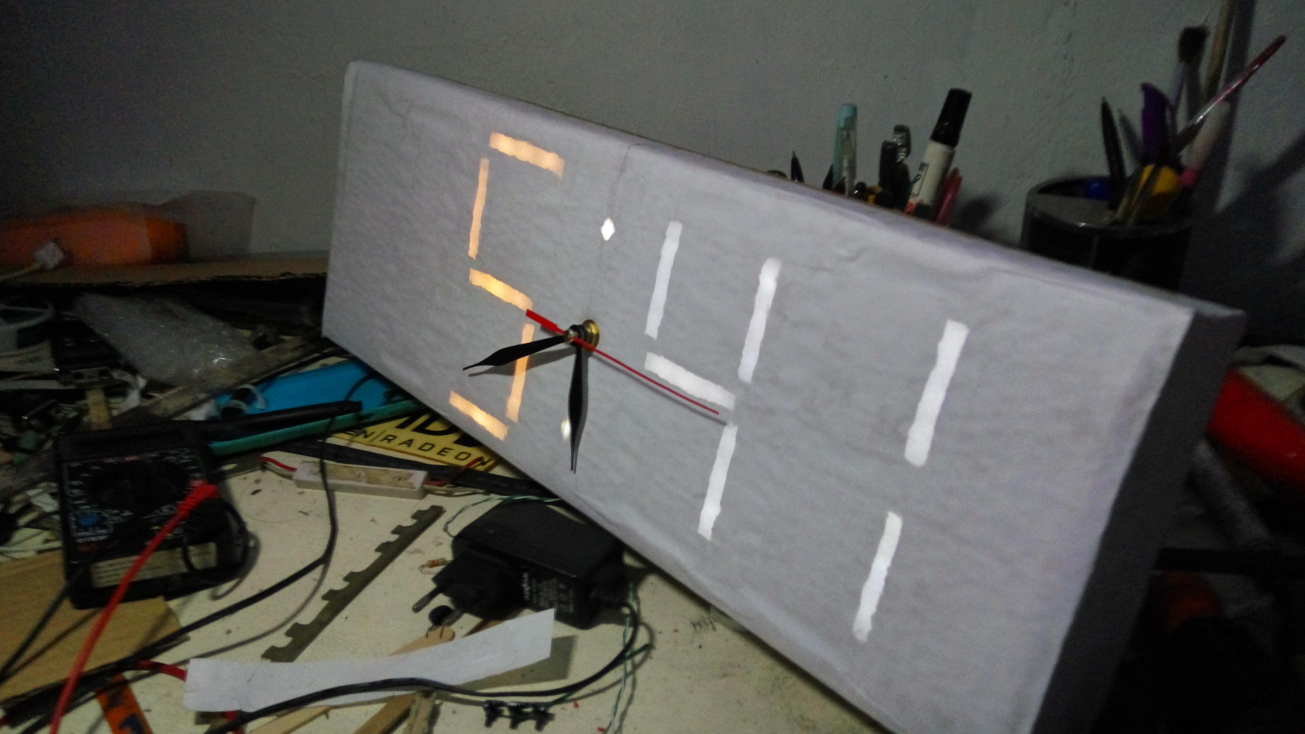 "Picture of ""Simple"" Digilog Clock (Digital Analog) Using Recycled Material!"