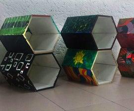 Mueble organizador de módulos hexagonales