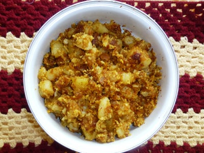 Fried Potato Cubes With Grated Coconut
