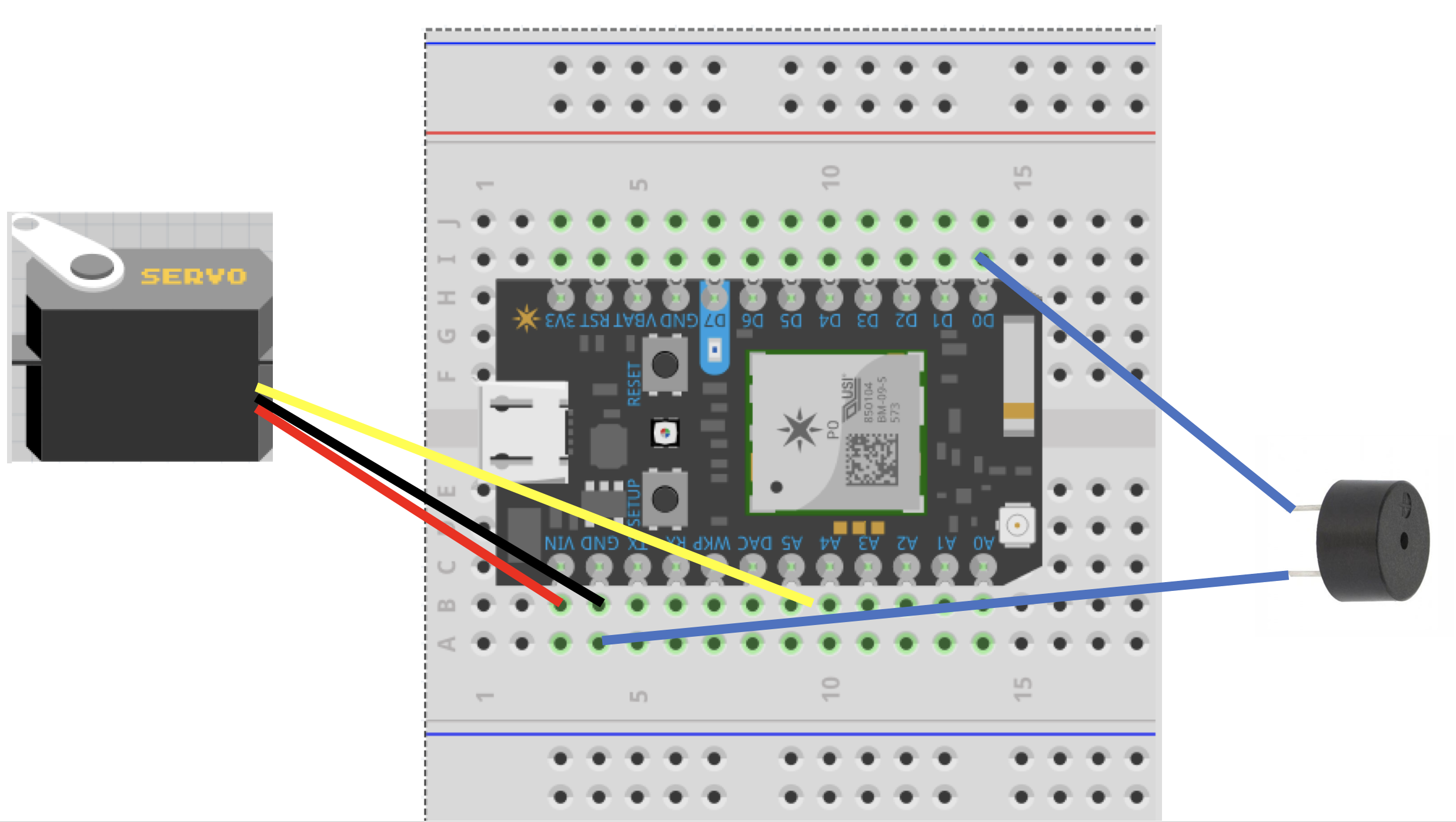 Picture of Connect Particle to Servo, Breadboard, and Buzzer